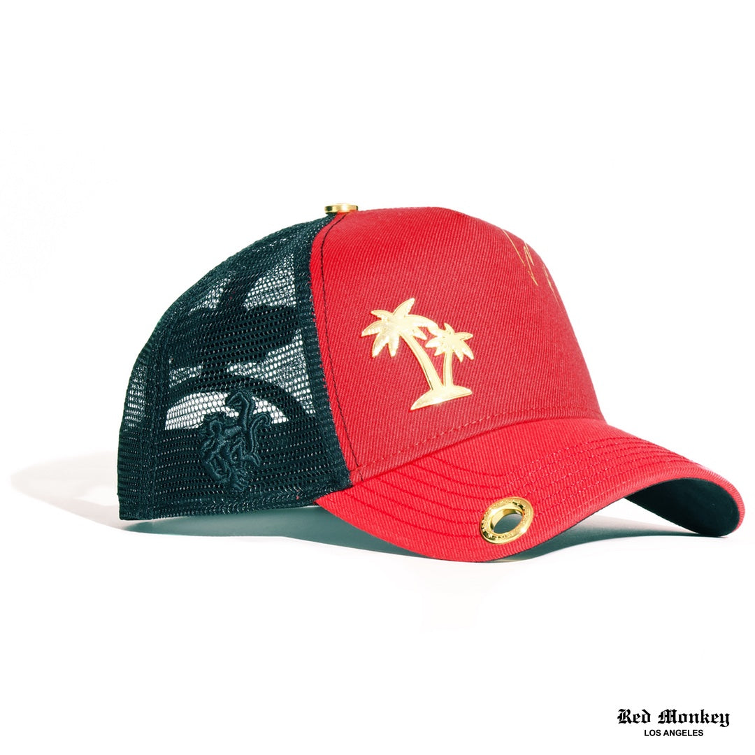 a4726953 Red Monkey Palms 2019 Red Trucker Hat