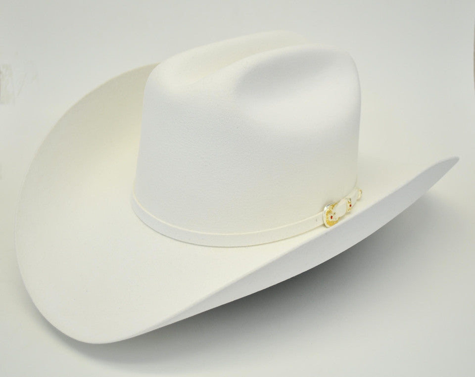 Larry Mahan 6X Real White Fur Felt Cowboy Hat