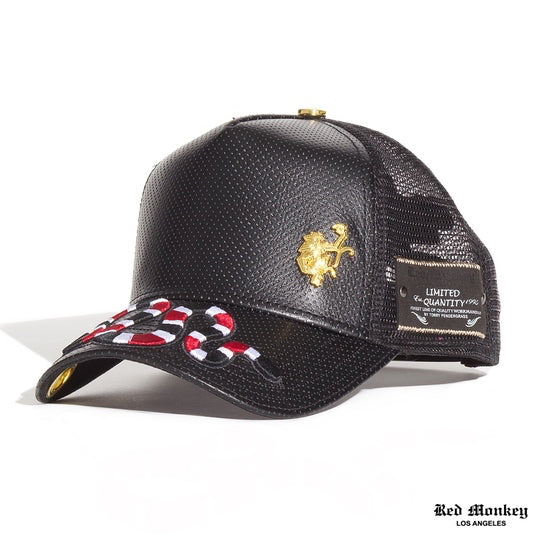 7f5632f9 Red Monkey Slither Black Trucker Hat