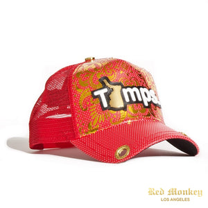 Red Monkey Gold Tamps Trucker Hat Red