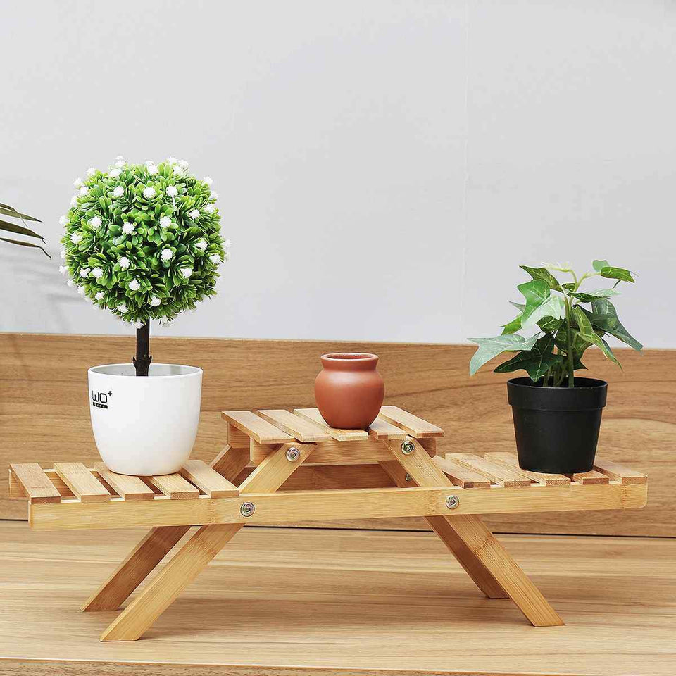 Plant Stand Bamboo Indoor Outdoor 3 Tier