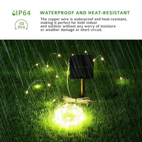 Outdoor LED Garden Fairy Solar Lights White String Powered Patio Porch Wire