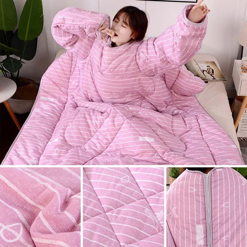 The Lazy Sleeved Blanket Wearable With Sleeves For Adults Fleece