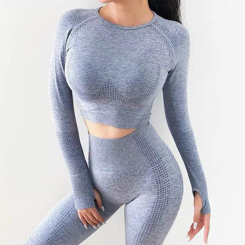 Seamless Long Sleeve Fitness Suit Yoga Outfit Sets Activewear Women's 2 Piece Tracksuit High Waisted Leggings