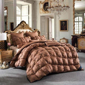 Classic Brown Filling Goose Down Comforter Handwork, Cotton 100%, Twin/Full/Queen/King