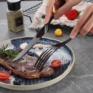 6Pcs Stainless Steel Steak Knives Set Silverware Knife Sets