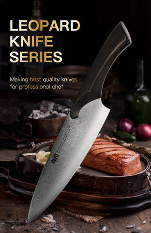 "Japanese Kitchen Chef Knife Cheetah Series 8"" Meat Cleaver Ultra Sharp Chef's"
