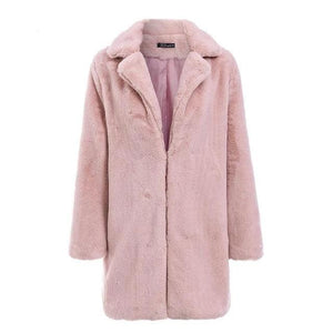 Womens Long Fluffy Faux Fur Coat Jacket