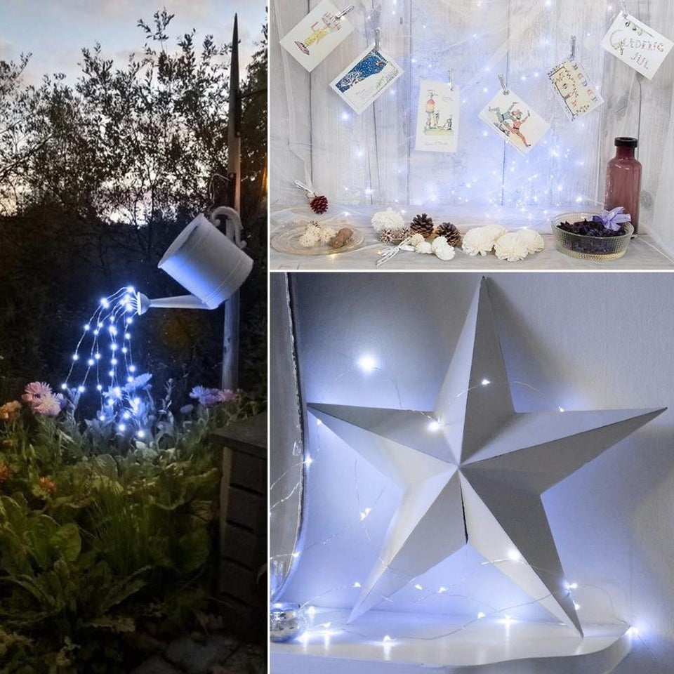 Solar Outdoor LED Fairy String Lights White Powered Patio Porch Wire