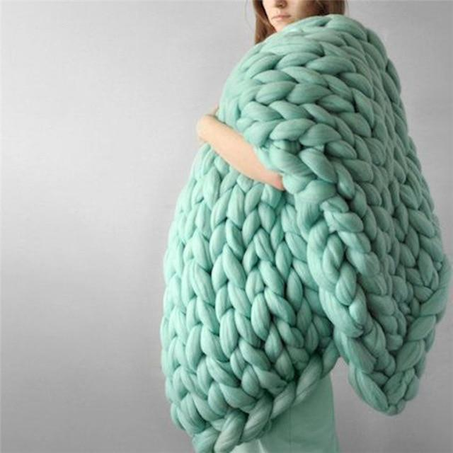 Chunky Knit Blanket Thick Yarn Large Hand Giant Wool Throw Cheap Big Arm Knitting