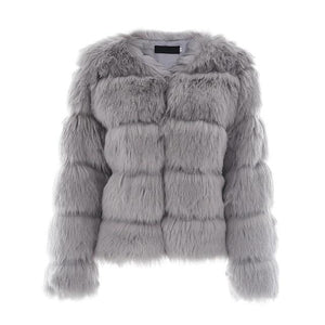 Womens Faux Fluffy Fur Coat Jacket Women