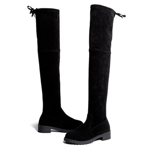 Thigh High Over The Knee Flat Black Boots
