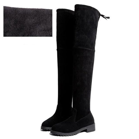 Thigh High Over The Knee Flat Black Boots Above