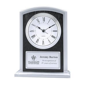 "DA9715 - 7"" Glass Clock with Wood Grain Accent"