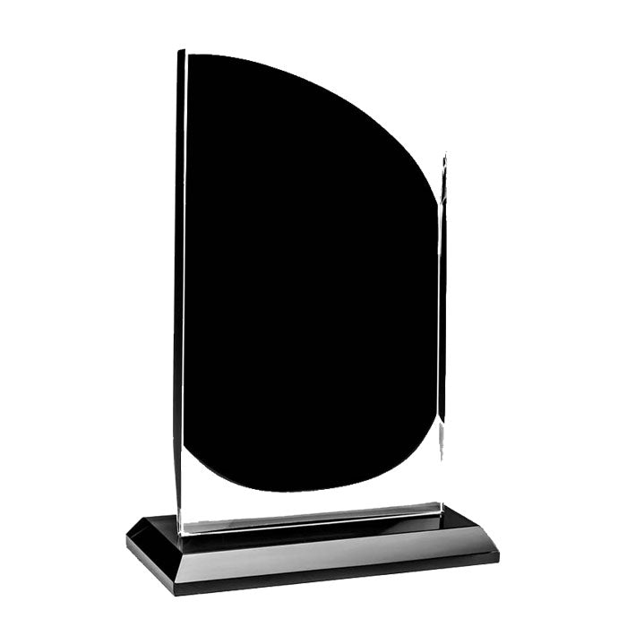 GLBK1417 - Curved Onyx Black Glass Award