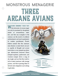 Monstrous Menagerie: Three Arcane Avians