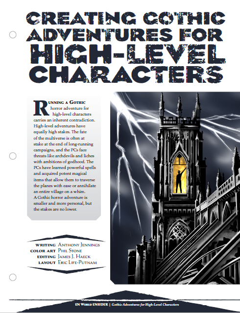 Creating Gothic Adventures For High Level Characters