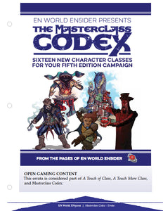 Masterclass Codex Errata File