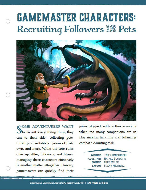Gamemaster Characters: Recruiting Followers & Pets