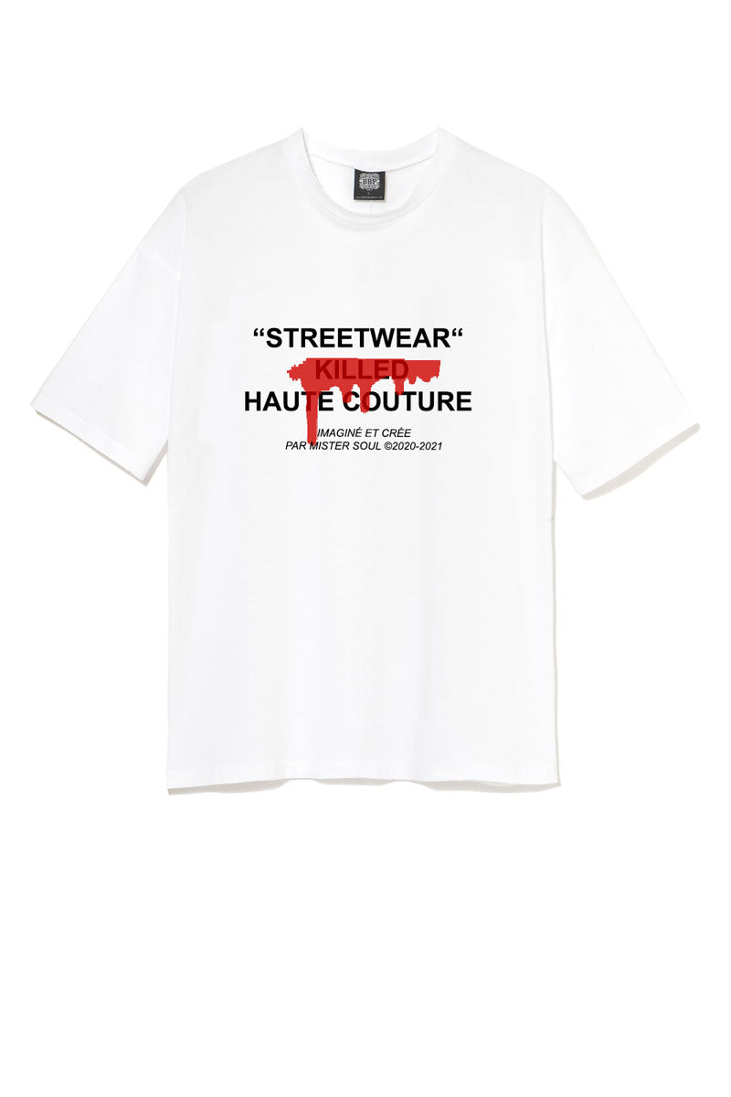 Leroyaume T-shirt Streetwear Killed Haute Couture Blanc Face
