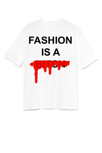 Leroyaume T-shirt Streetwear Fashion is a Bitch Version 2 blanc Dos