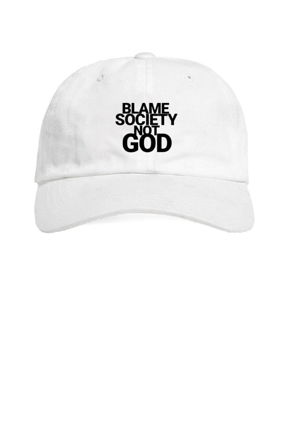 Leroyaume Casquette Baseball Blame Society Not God Blanc