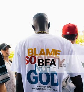 T-SHIRT STREETWEAR MULTICOULEUR - BLAME SOCIETY NOT GOD - LEROYAUME