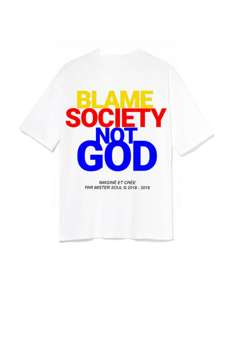 Leroyaume T-shirt Streetwear Blame Society Not God Blanc Multicolor Print