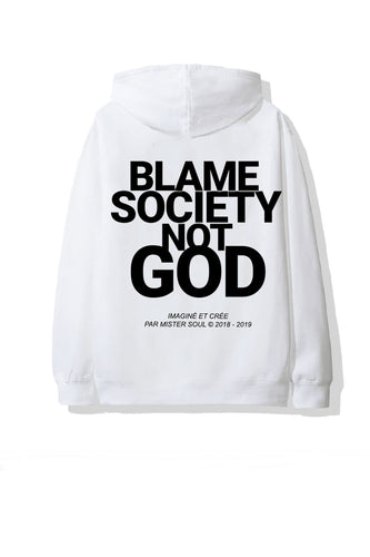 Leroyaume Sweat-shirt à Capuche Streetwear Blame Society Not God Blanc Dos