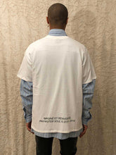 Load image into Gallery viewer, Leroyaume T-shirt Streetwear Freedom Balmain Paris Blanc dos porté