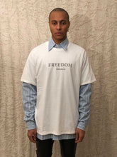 Load image into Gallery viewer, Leroyaume T-shirt Streetwear Freedom Balmain Paris Blanc Face porté