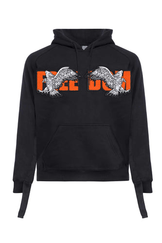 Leroyaume sweat-shirt à capuche streetwear avec FREEDOM EAGLE PATCH face black