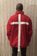 Load image into Gallery viewer, Leroyaume Kway streetwear à capuche BELIEVE IN GOD rouge dos porté