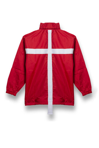 Leroyaume Kway streetwear à capuche BELIEVE IN GOD rouge dos
