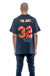 Leroyaume t-shirt graphic streetwear O.J SIMPSON THE JUICE 32 noir dos porté