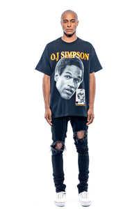 Leroyaume t-shirt graphic streetwear O.J SIMPSON THE JUICE 32 noir face porté plein pied