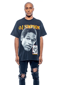 Leroyaume t-shirt graphic streetwear O.J SIMPSON THE JUICE 32 noir face porté