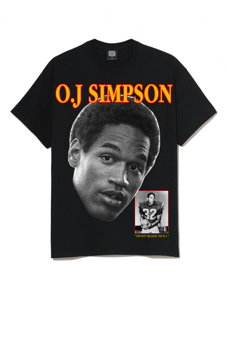 Leroyaume t-shirt graphic streetwear O.J SIMPSON THE JUICE 32 noir face
