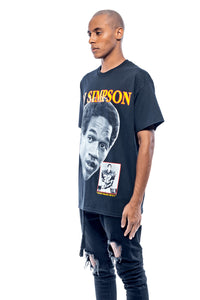 Leroyaume t-shirt graphic streetwear O.J SIMPSON THE JUICE 32 noir profil porté