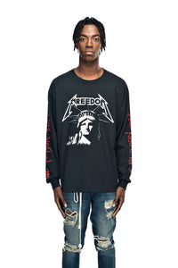 t-shirt statue of liberty all born free longsleeves streetwear black leroyaume porté face