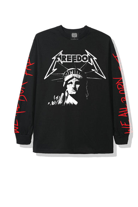 t-shirt statue of liberty all born free longsleeves streetwear black leroyaume