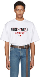 T-shirt streetwear streetwear the new haute couture leroyaume blanc porté face