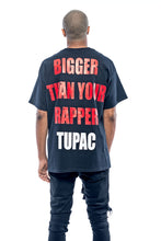 Load image into Gallery viewer, T-shirt streetwear Tupac black Leroyaume bigger than your rapper dos porté