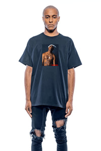 T-shirt streetwear Tupac black Leroyaume bigger than your rapper face porté