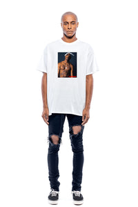 T-shirt streetwear Tupac Leroyaume bigger than your rapper face porté
