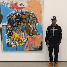 Load image into Gallery viewer, Leroyaume sweat-shirt à capuche streetwear  JEAN-MICHEL BASQUIAT NYC  noir porté par SWIZZ BEATS
