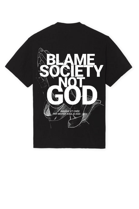 Blame Society Not God Hands Prayer T-shirt Noir