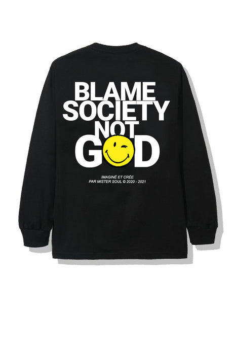 T-shirt Manche Longue Blame Society Not God Smiley