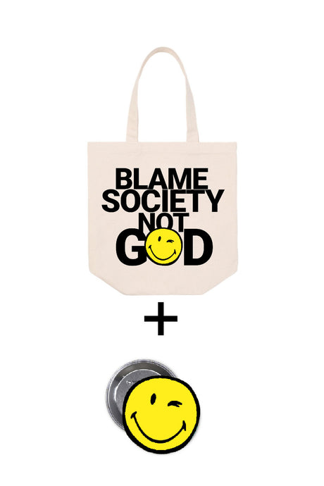 Blame Society Tote Bag = Badge