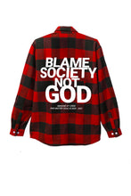 Load image into Gallery viewer, Leroyaume Blame Society Not God Flannel Shirt